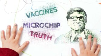 Crayon drawing of Bill Gates and conspiracy theories.
